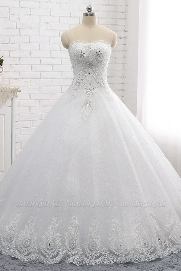 Affordable S-Line Sweetheart Tulle Rhinestones Wedding Dress Lace Appliques Sleeveless Bridal Gowns Online