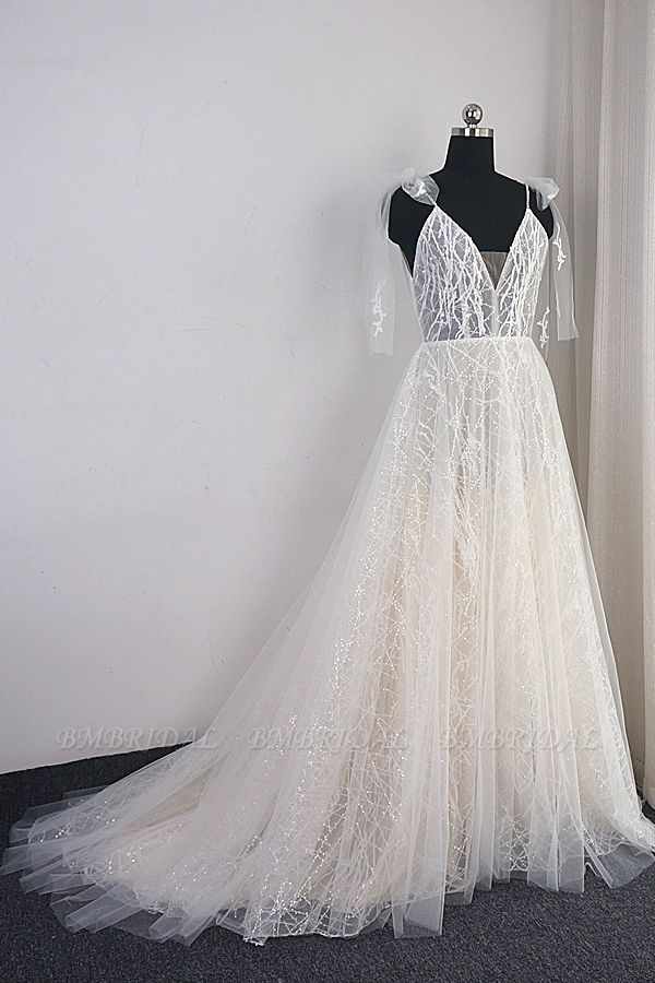 BMbridal Gorgeous Spaghetti Straps Tulle Wedding Dress Beading V-Neck Sleeveless Bridal Gowns Online