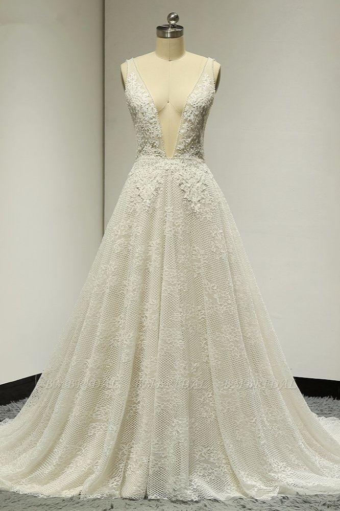 BMbridal Sexy Tulle Deep-V-Neck Lace Wedding Dress Sleeveless Appliques Pearls Bridal Gowns On Sale