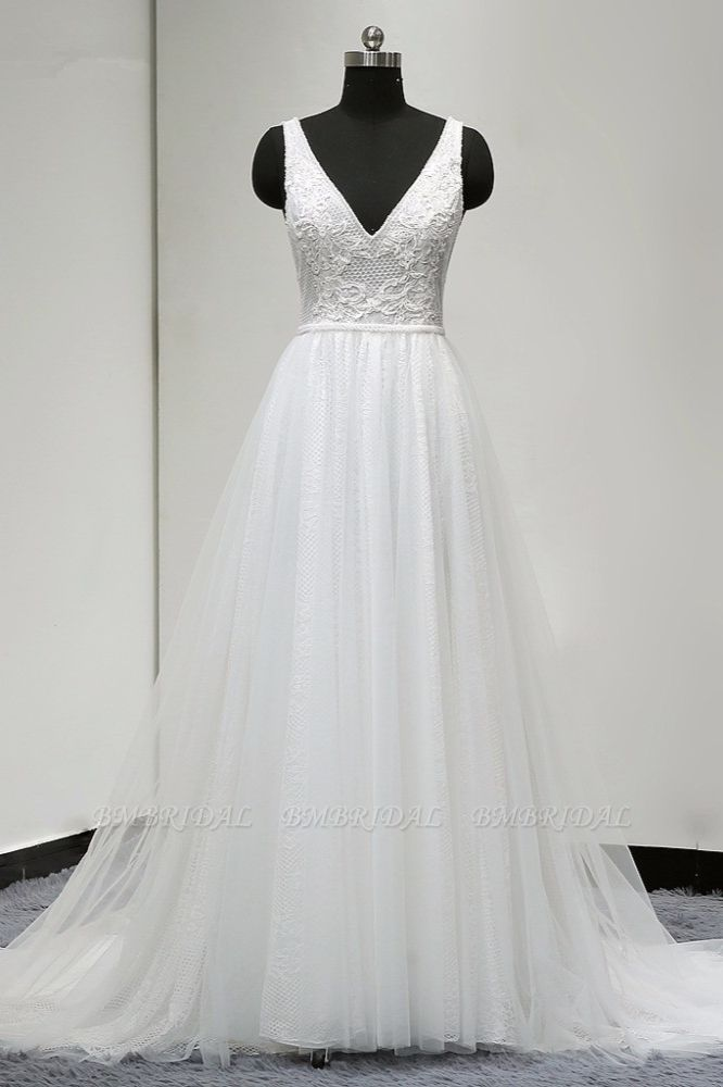 BMbridal Chic Straps V-Neck White Tulle Lace Wedding Dress Sleeveless Ruffles Bridal Gowns On Sale