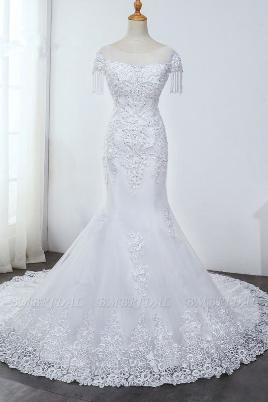 BMbridal Affordable Jewel Mermaid Tulle Lace Wedding Dress Sleeveless Appliques Beading Bridal Gowns with Tassels Online