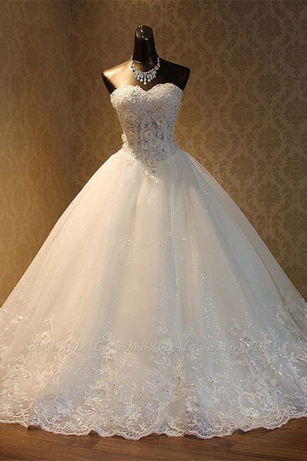 BMbridal Elegant Strapless Tulle Ball Gown Wedding Dress Appliques Sequined Sweetheart Bridal Gowns On Sale
