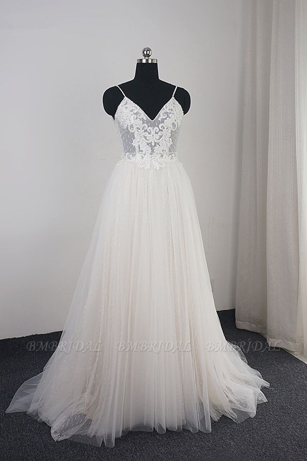 BMbridal Affordable Spaghetti Straps Tulle Ruffle Wedding Dress V-Neck Lace Appliques Bridal Gowns On Sale