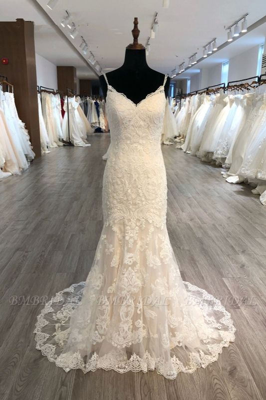 BMbridal Elegant Spaghetti Straps Mermaid Wedding Dress Tulle Lace Appliques V-Neck Bridal Gowns Online