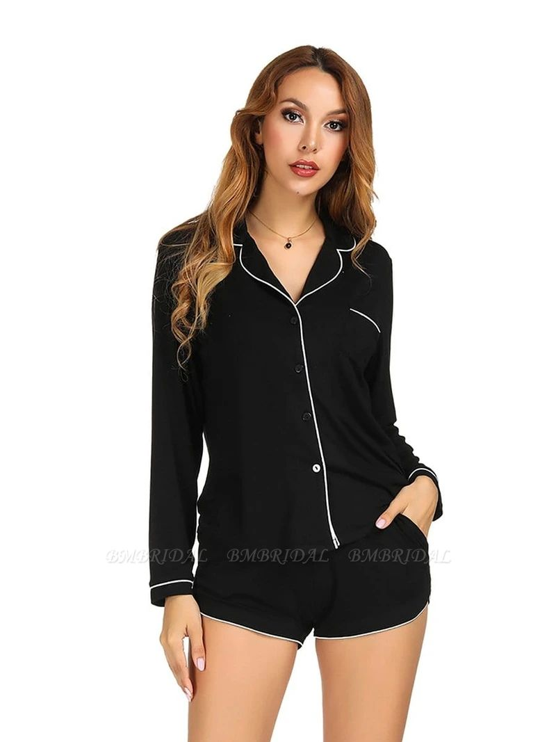 Sexy Women Modal Solid Long-sleeve Pajamas Sets