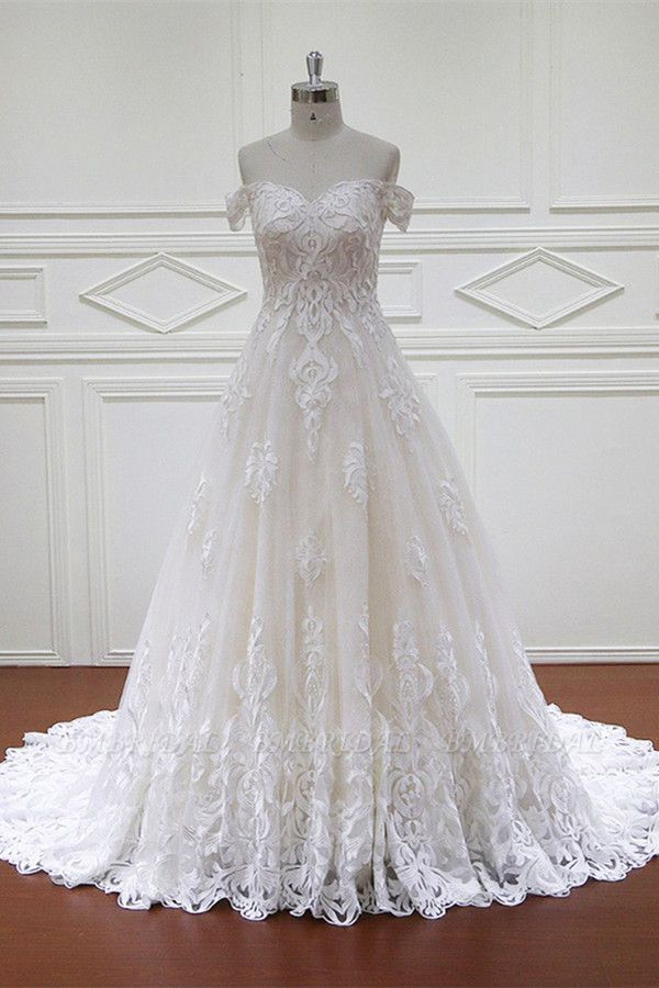 Elegant Off-the-Shoulder White Tulle Lace Wedding Dress Sweetheart Appliques Bridal Gowns On Sale