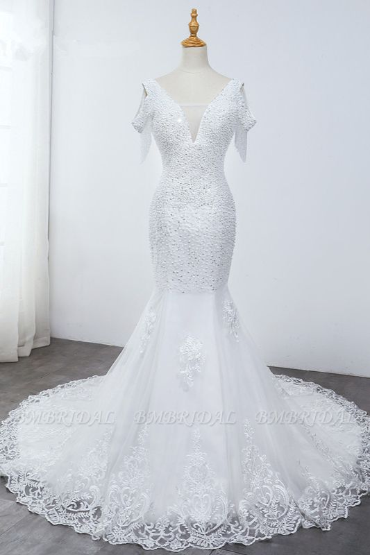 Sparkly Sequined V-Neck Cold-Shoulder White Wedding Dress White Mermaid Lace Appliques Bridal Gowns On Sale