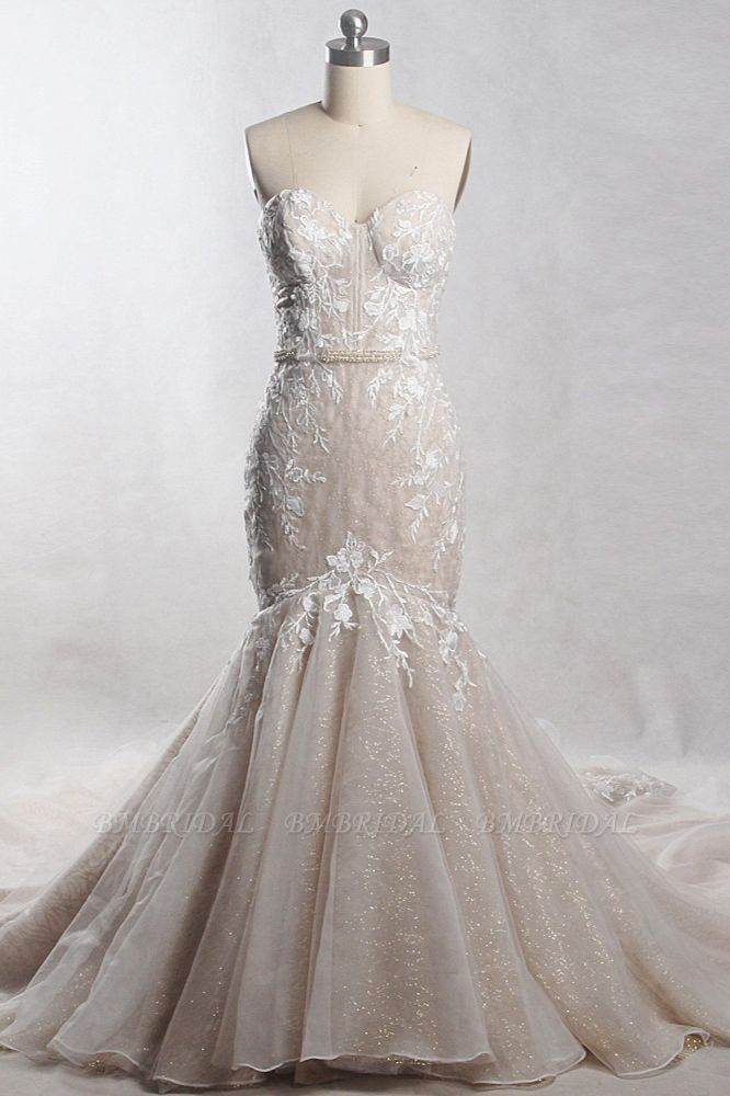 Chic Strapless Tulle Sequins Mermaid Wedding Dress Sleeveless Appliques Beadings Bridal Gowns On Sale