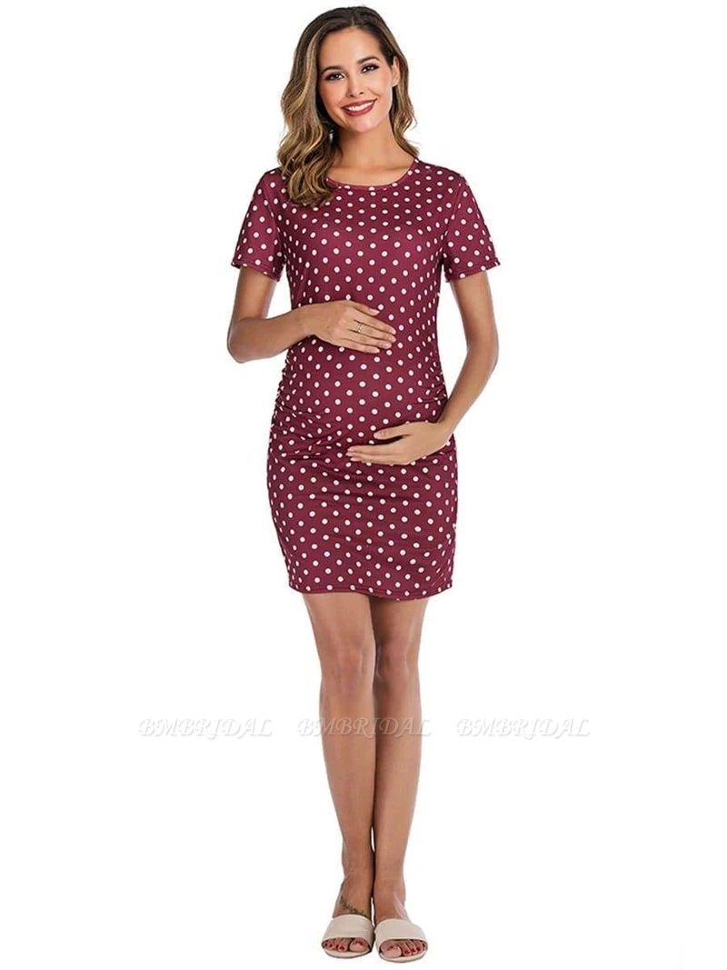BMbridal Vintage Women Short Sleeves Maternity Dress with Polka Dots On Sale