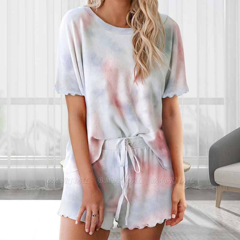 BMbridal Fashion Tie-dye Short-sleeved Pajamas Women Summer Pullover Homewear