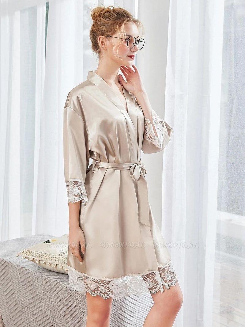 BMbridal Lovely Lady V-Neck Imitation Silk Lace Pajamas with Sleeves