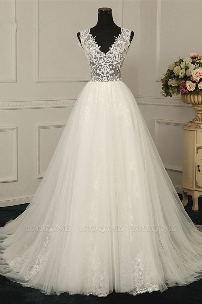 BMbridal Sexy V-Neck Sleeveless Tulle Wedding Dress See Through Top Appliques Bridal Gowns On Sale