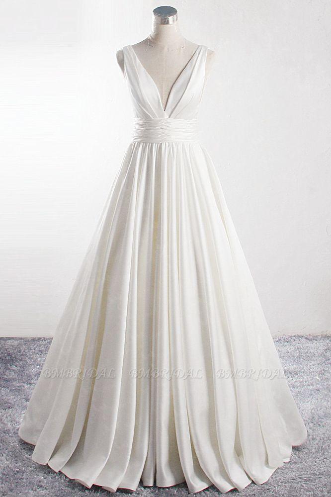 BMbridal Affordable V-neck Satin White Wedding Dress Sleeveless Ruffles Bridal Gowns On Sale