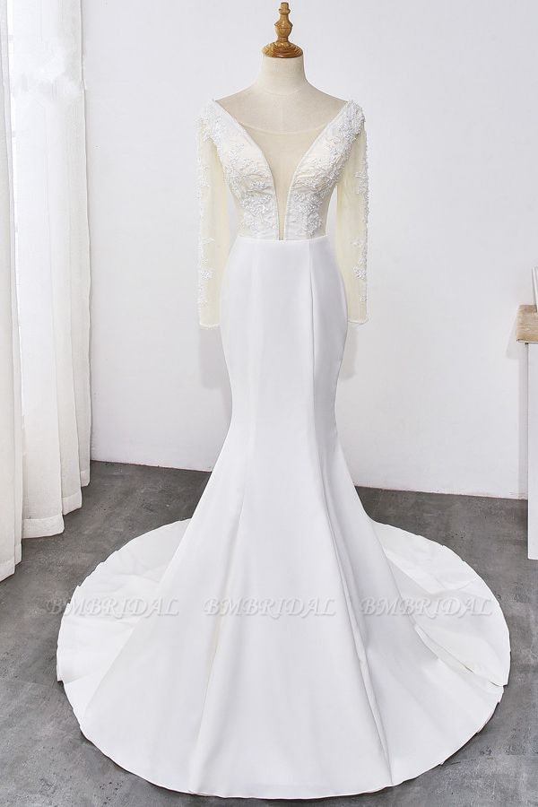 BMbridal Simple Satin Mermaid Jewel Wedding Dress Tulle Lace Long Sleeves Bridal Gowns On Sale