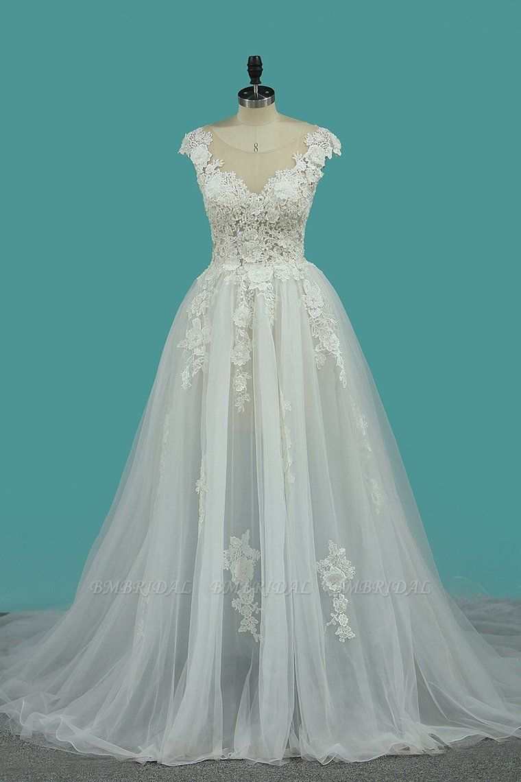 BMbridal Chic Jewel Sleeveless Lace Wedding Dress Tull Appliques Ruffles Bridal Gowns Online