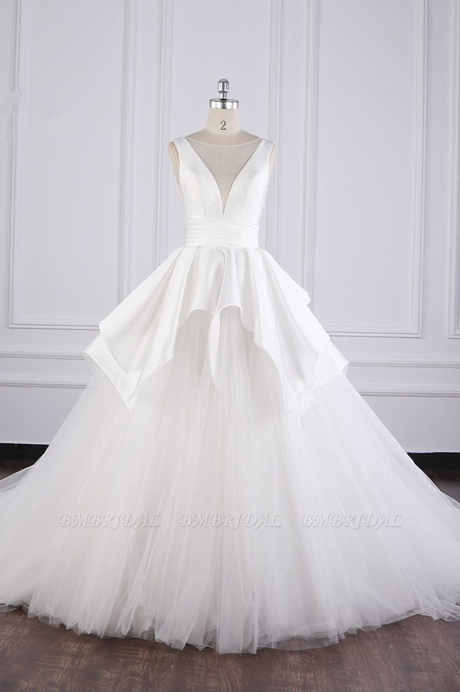 BMbridal Chic Ball Gown Jewel Layers Tulle Wedding Dress White Sleeveless Ruffles Bridal Gowns Online
