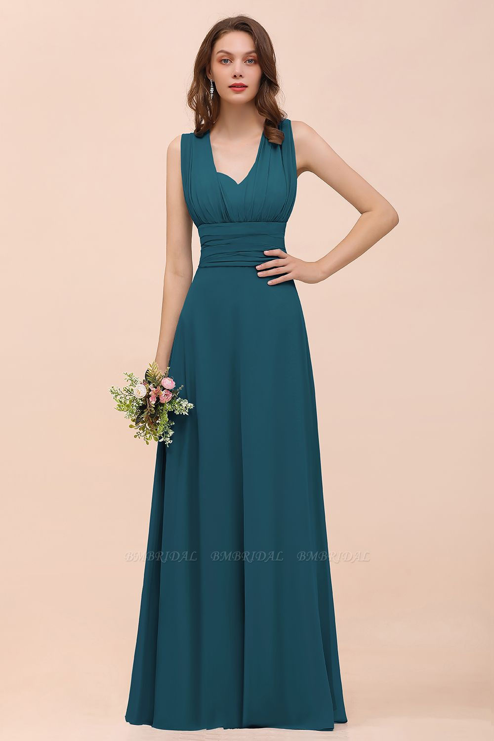 Bmbridal New Arrival Affordable Dusty Blue Ruched Long Convertible Bridesmaid Dresses Bmbridal