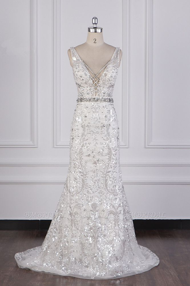 BMbridal Sparkly Sequins Straps V-Neck Wedding Dress Beadings Sleeveless Bridal Gowns with Sash On Sale