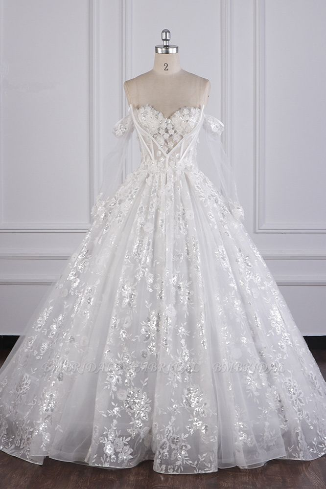 Gorgeous Ball Gown Strapless Tulle Lace Wedding Dress Sleeveless Appliques Sequins Bridal Gowns