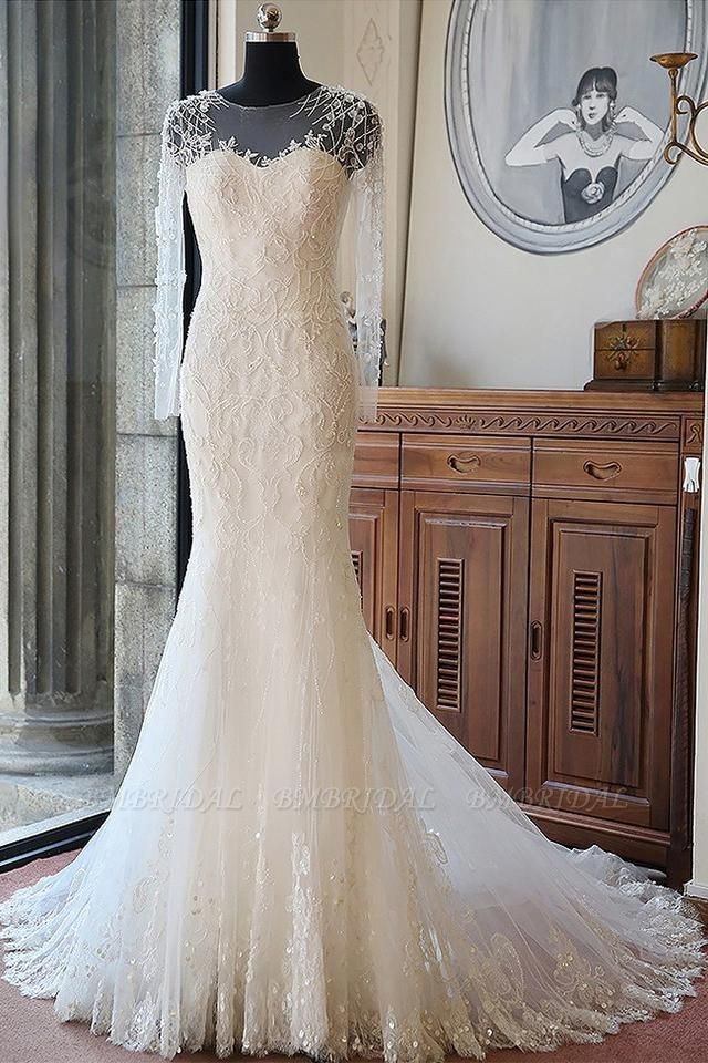 BMbridal Glamorous Jewel Long Sleeves Wedding Dress Tulle Appliques Beadings Bridal Gowns On Sale