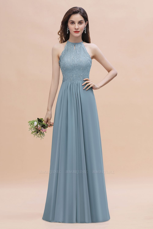 BMbridal Elegant Jewel Lace Appliques Dusty Blue Chiffon Bridesmaid Dress On Sale
