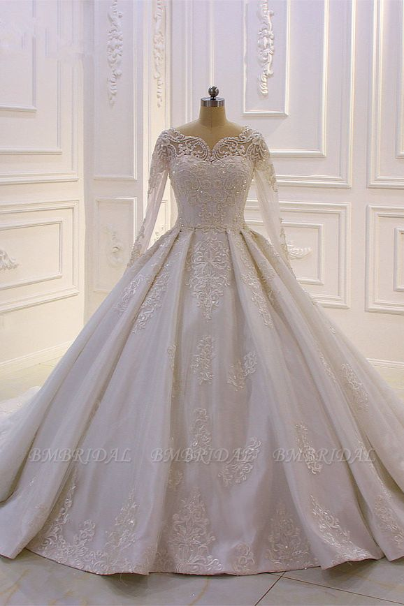BMbridal Luxury Satin Tulle Ruffle Wedding Dress Long Sleeves Appliques Beadings Bridal Gowns On sale