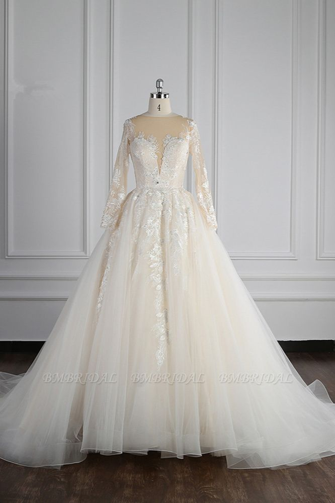 BMbridal Elegant Jewel Long Sleeves Wedding Dress Tulle Appliques Ruffles Bridal Gowns with Beadings Online