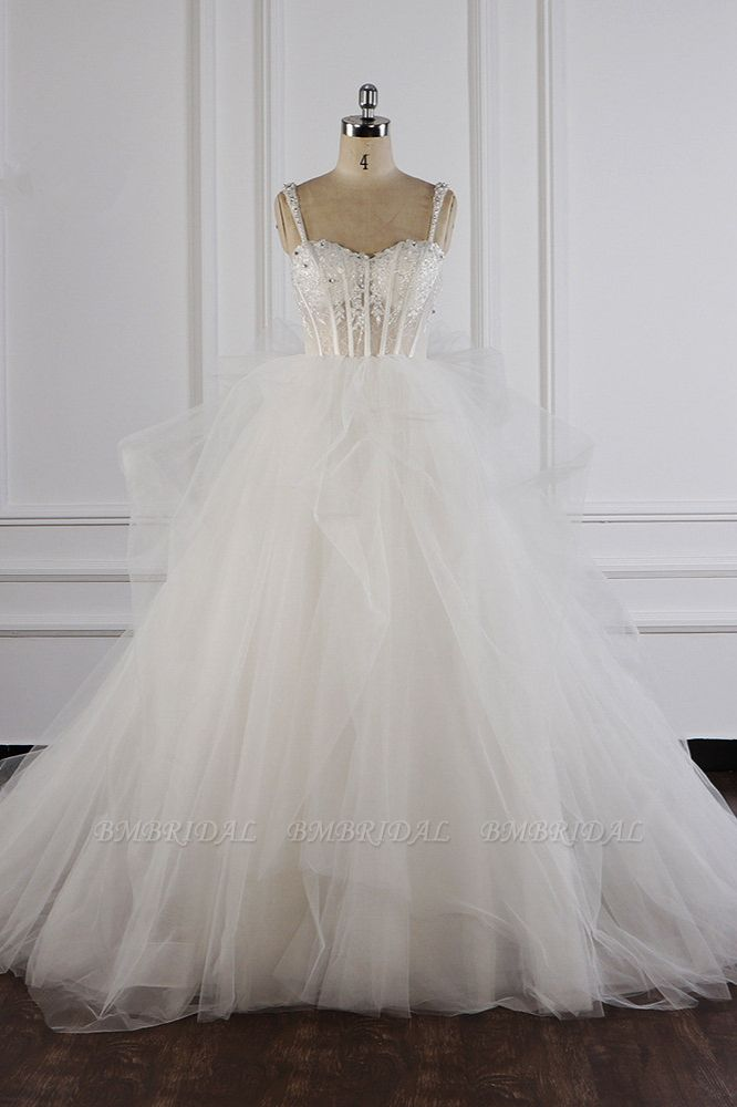 BMbridal Elegant Straps Tulle Lace Wedding Dress Sweetheart Appliques Beadings Bridal Gowns with Ruffles On Sale