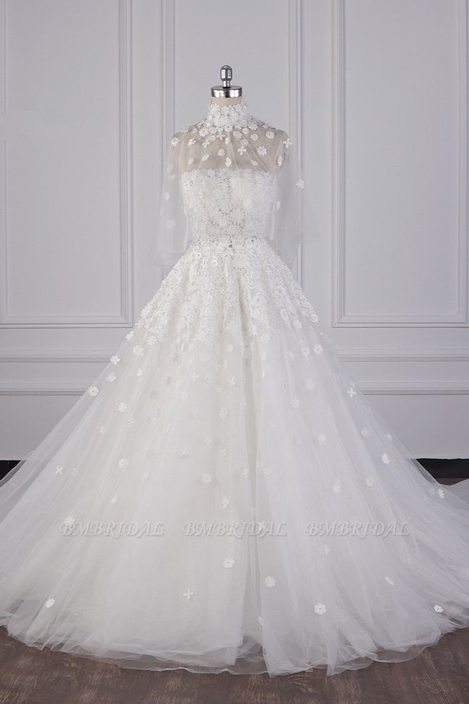 BMbridal Chic High-Neck Tulle Lace Wedding Dress Appliques Beadings Long Sleeves Bridal Gowns On Sale