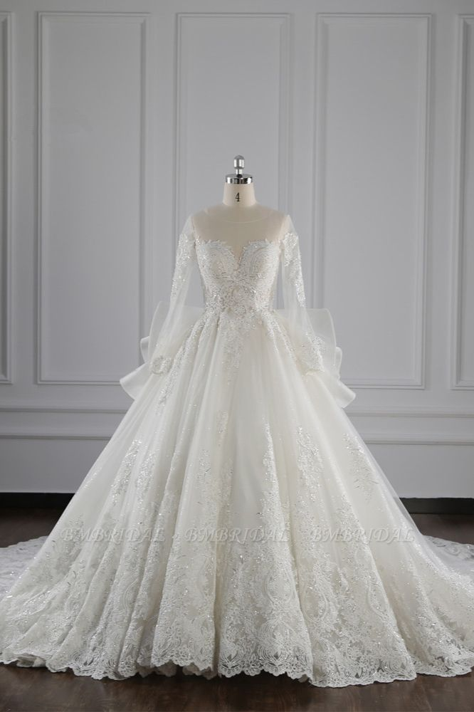 BMbridal Gorgeous Jewel Lace Tulle Wedding Dress Long Sleeves Beadings Bridal Gowns On Sale