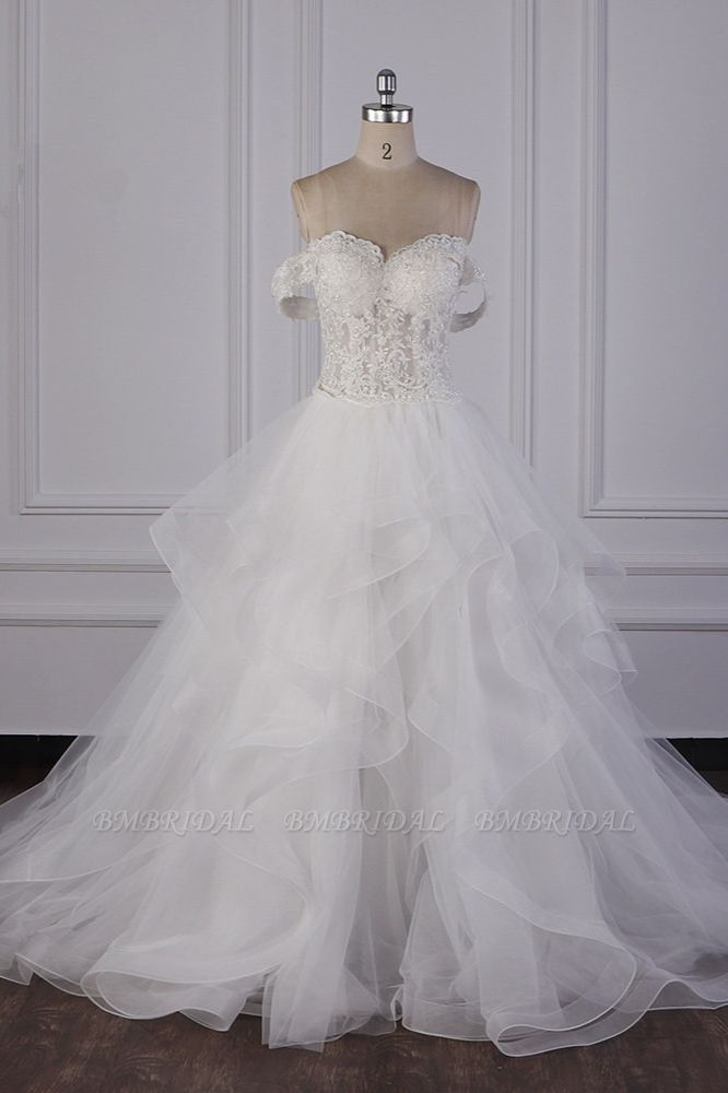 BMbridal Stylish Off-the-Shoulder Tulle Lace Wedding Dress Strapless Appliques Ruffles Beading Bridal Gowns On Sale
