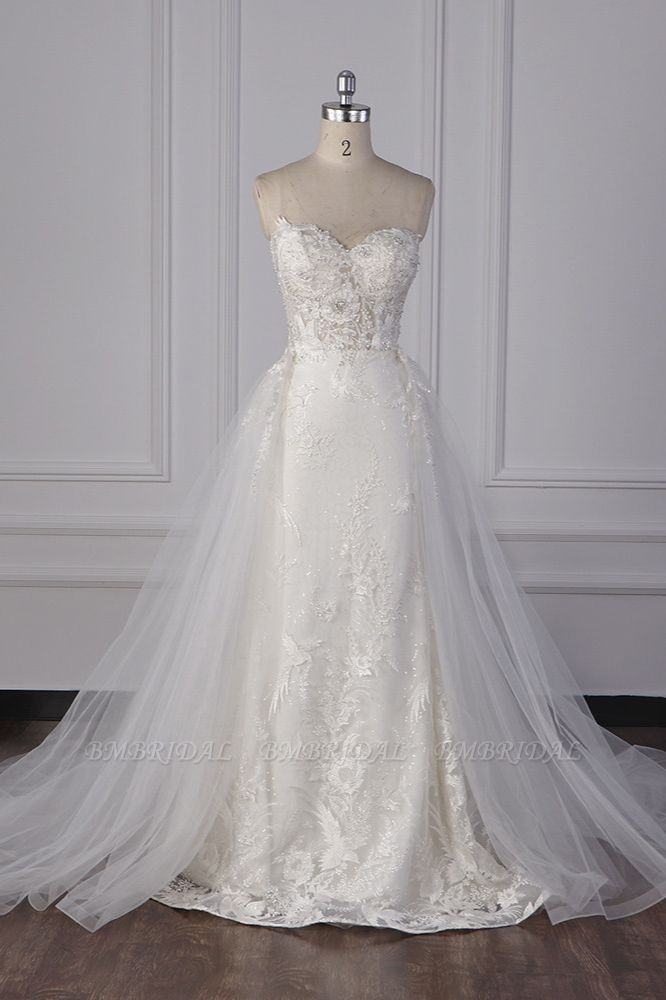 BMbridal Stylish Strapless Tulle Lace Wedding Dress Sweetheart Appliques Bridal Gowns with Overskirt On Sale