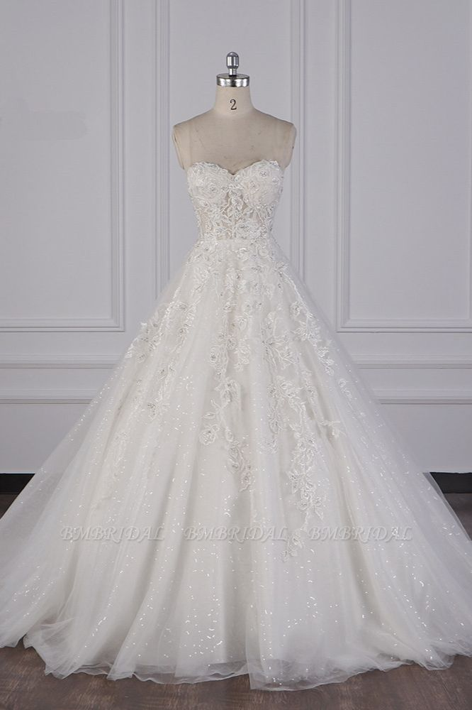 BMbridal Elegant Strapless Tulle Lace Wedding Dress Sweetheart Appliques Sequined Bridal Gowns On Sale