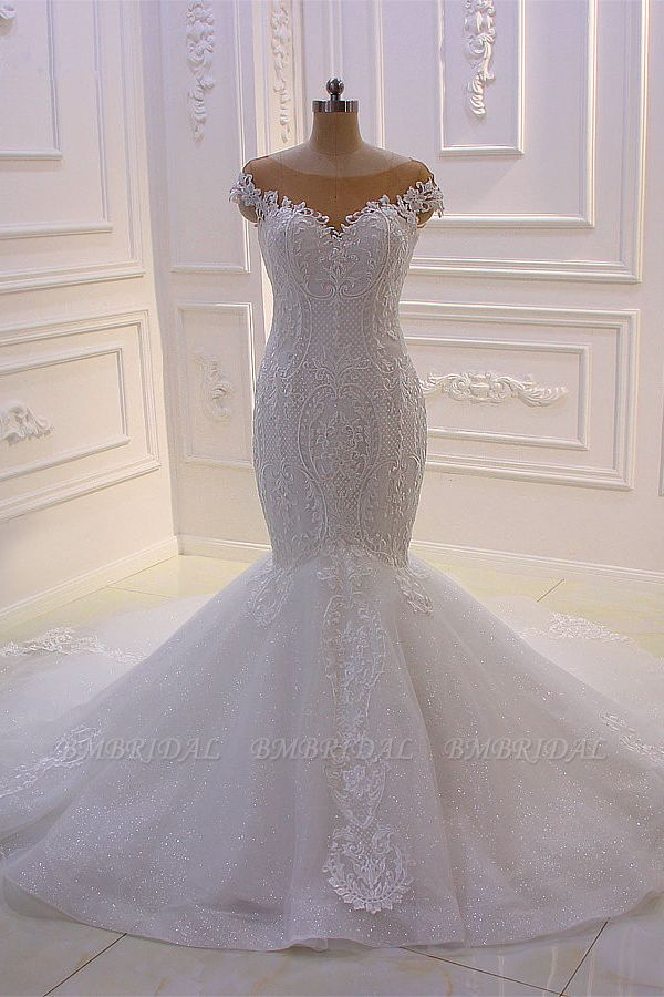 BMbridal Elegant Jewel Tulle Lace Sequined Wedding Dress Mermaid Appliques Sleeveless Bridal Gowns On Sale