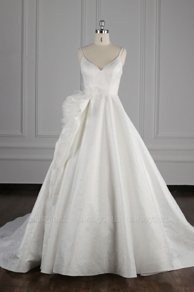 Chic Spaghetti Straps V-neck Wedding Dress Satin Appliques Bow Bridal Gowns Online