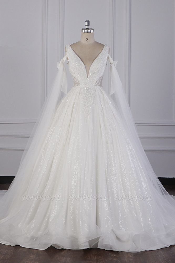 BMbridal Luxury V-Neck Beadings Wedding Dress Tulle Sleeveless Sequined Bridal Gowns On Sale