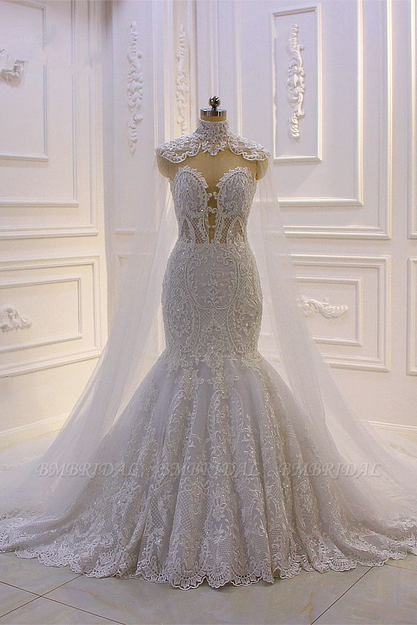 BMbridal Stylish V-Neck Tulle Lace Wedding Dress Mermaid Appliques Beadings Bridal Gowns with Wraps
