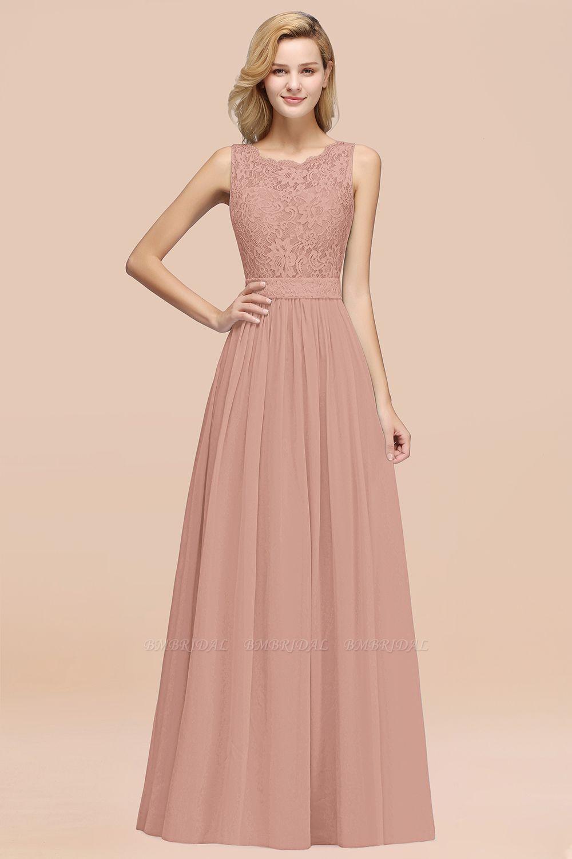 BMbridal Elegant Chiffon Lace Scalloped Sleeveless Ruffle Bridesmaid Dresses