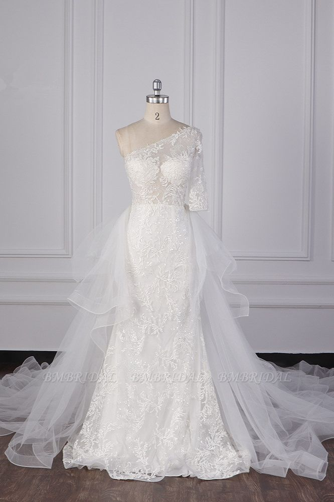 BMbridal Glamorous Sheath Lace Tulle Wedding Dress One-Shoulder 3/4 Sleeve Appliques Bridal Gowns Online