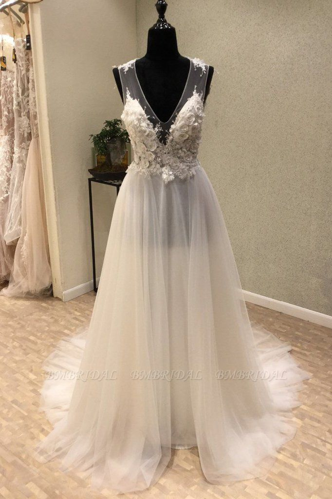 BMbridal Stylish V-Neck Straps Tulle Wedding Dress Ruffles Appliques Bridal Gowns with Flowers On Sale