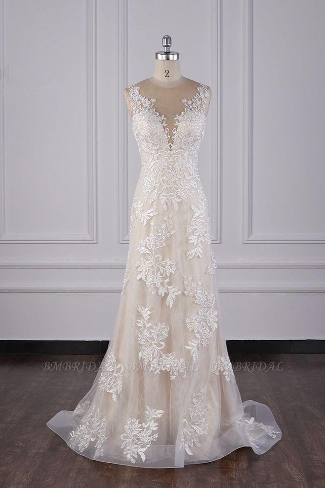 BMbridal Elegant Jewel Tulle Lace Wedding Dress Appliques Sleeveless Mermaid Bridal Gowns Online