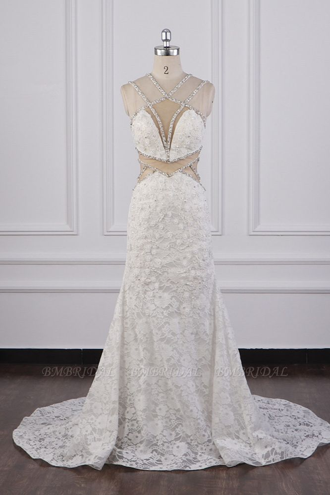 BMbridal Gorgeous Sleeveless Lace Beadings Wedding Dress Appliques Rhinestones Bridal Gowns Online