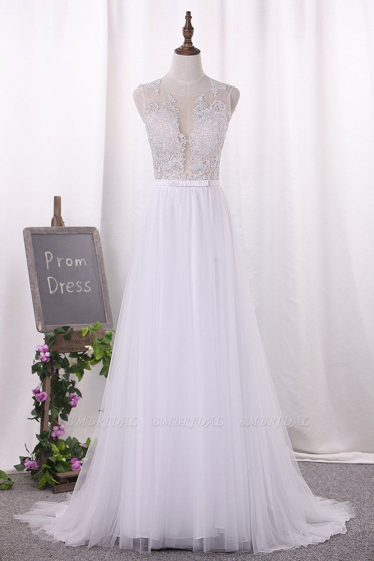 BMbridal Elegant Jewel Tull Lace Wedding Dress Sleeveless Appliques Ruffles Bridal Gowns On Sale