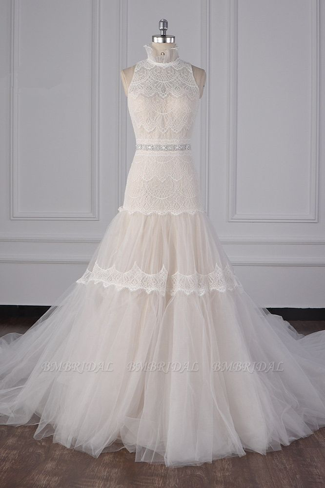 BMbridal Chic High-Neck Tulle Lace Wedding Dress Appliques Sleeveless Bridal Gowns with Beading Sashes Online