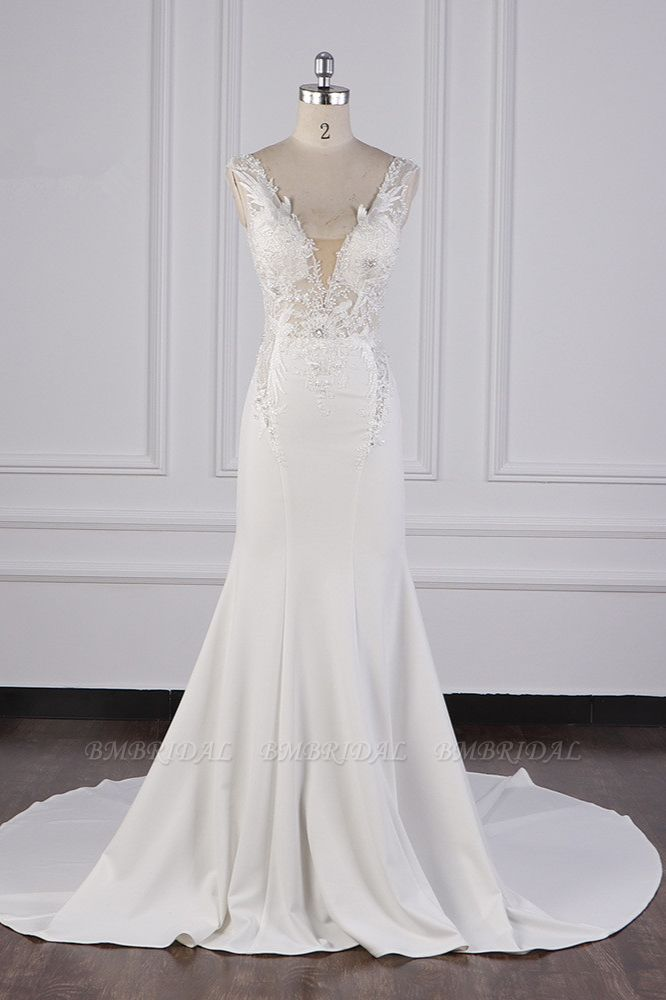 Glamorous Mermaid Satin Sleeveless Wedding Dress White Lace Appliques Bridal Gowns with Beadings On sale