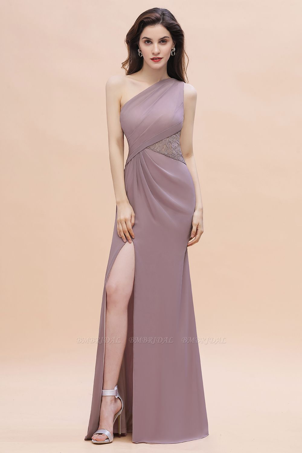 BMbridal Chic One-Shoulder Dusk Chiffon Lace Ruffle Bridesmaid Dress with Front Slit On Sale