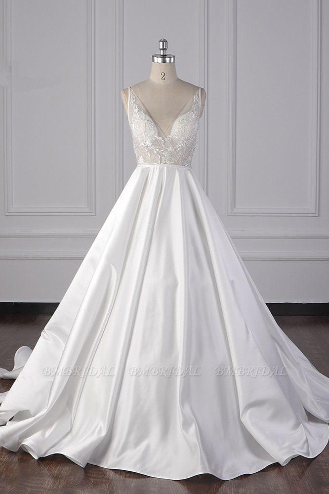 BMbridal Elegant Satin V-Neck Wedding Dress Lace Appliques Sleeveless Bridal Gowns On Sale