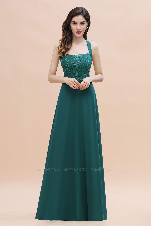 BMbridal Elegant Straps Peacock Chiffon Appliques Bridesmaid Dress Sleeveless On Sale