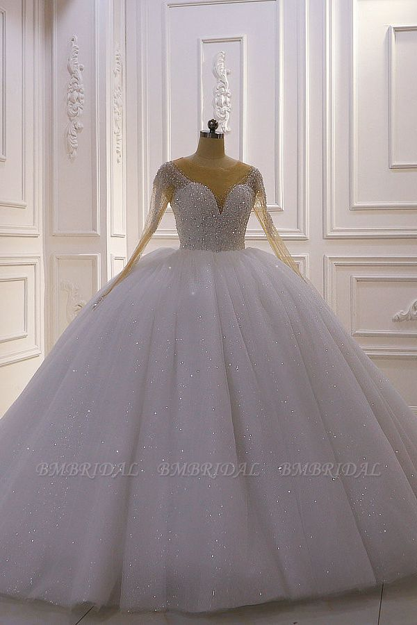 BMbridal Sparkly Ball Gown Tulle Wedding Dress Jewel Sequined Beadings Long Sleeves Bridal Gowns On Sale