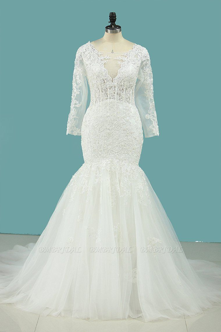 BMbridal Elegant Square Tulle Lace Wedding Dress Mermaid Long Sleeves Appliques Bridal Gowns On Sale